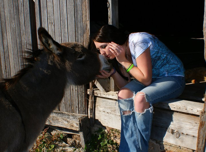 My donkey Burlap and I. <3