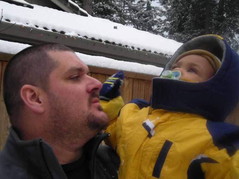 Me and my son Sid in the snow